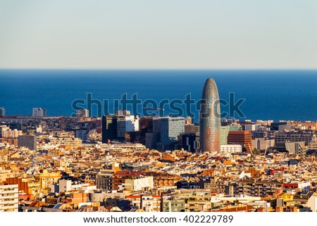 View of Sagrada Familia and Agbar Tower from Park Guell. Barcelona, Spain. - stock photo