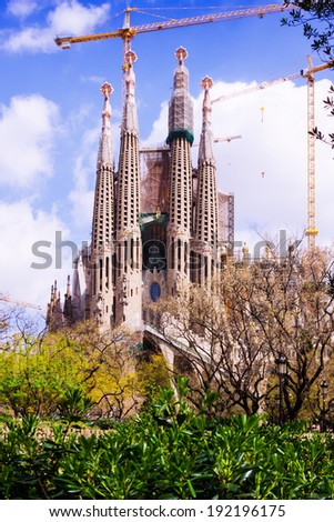 View of Sagrada Familia by Catalan architect Antoni Gaudi. Barcelona, Spain - stock photo