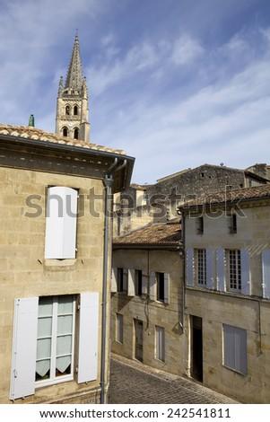 view of saint emilion, in aquitaine, france - stock photo