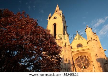 View of Saint Jean de Malte's church in Aix-en-Provence, France - stock photo