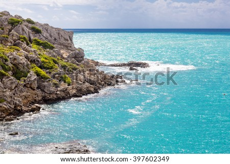 View of Saint Pauls Bay from the Acropolis. Lindos, Rhodes, Greece - stock photo