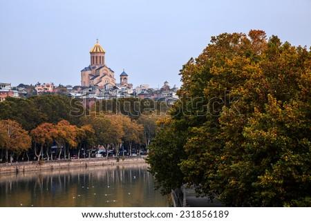 View of Sameba Cathedral in Tbilisi, Georgia - stock photo