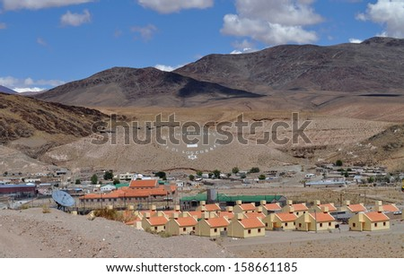 View of San Antonio de los Cobres. The town stands at 3775 meters above sea level, being one of the highest elevations of any city or town in Argentina.  - stock photo