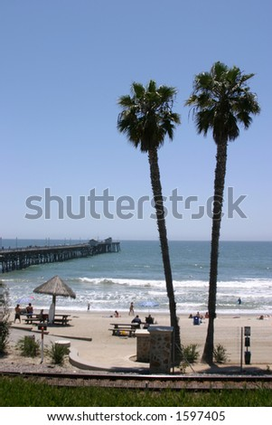 view of San Clemente Pier and Beach in Southern California - stock photo