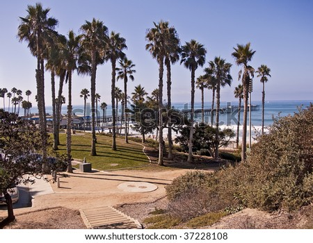 View of San Clemente Pier on the Orange County coast of California - stock photo