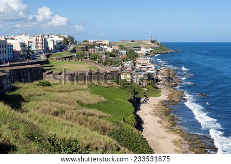 View of San Felipe del Morro Castle and Old San Juan in Puerto Rico. - stock photo