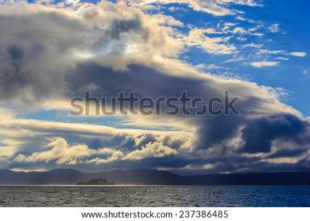 View of San Francisco Bay with Alcatraz Island - stock photo