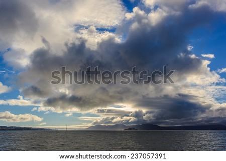 View of San Francisco Bay with Golden Gate Bridge and Alcatraz Island - stock photo