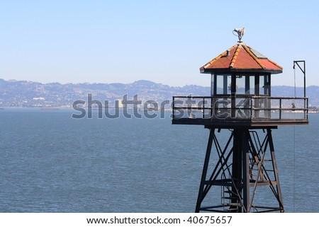 View of San Francisco from Alcatraz Guard Tower. - stock photo