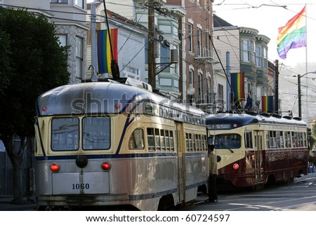 View of San Francisco with an orange historic tram - stock photo