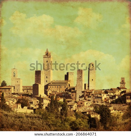 View of San Gimignano in grunge and retro style. Tuscany. Italy. - stock photo