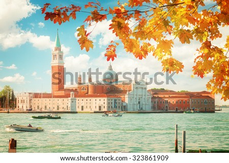 view of San Giorgio island at fall day, Venice, Italy, retro toned - stock photo