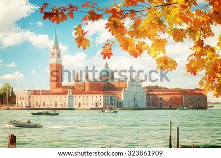 view of San Giorgio island at fall day, Venice, Italy, retro toned - stock photo