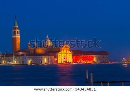 view of San Giorgio island at night , Venice, Italy - stock photo