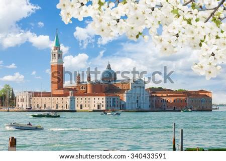 view of San Giorgio island at spring day, Venice, Italy - stock photo