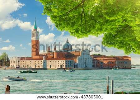 view of San Giorgio island at summer, Venice, Italy - stock photo