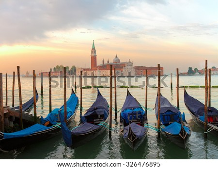 view of San Giorgio island at sunrise, Venice, Italy - stock photo