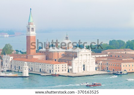 view of San Giorgio island from above, Venice, Italy - stock photo