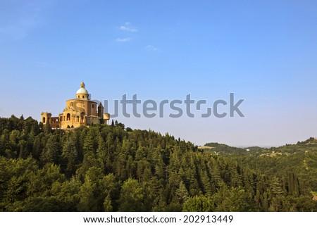 view of san luca - bologna, italy - stock photo