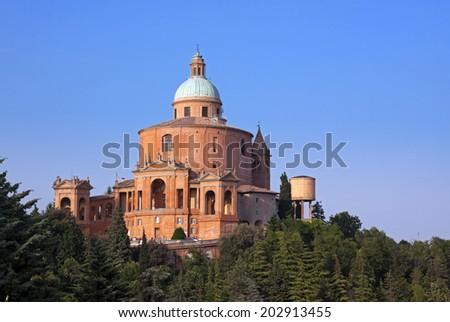 view of san Luca, bologna - italy - stock photo