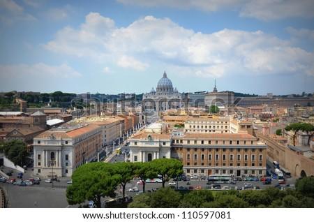View of San Peter basilica - stock photo