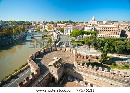 View of  San Peter basilica from Castel Sant'Angelo,  Rome, Italy. - stock photo