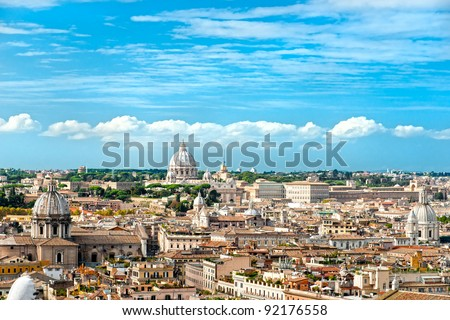 View of  San Peter basilica, Rome, Italy. - stock photo