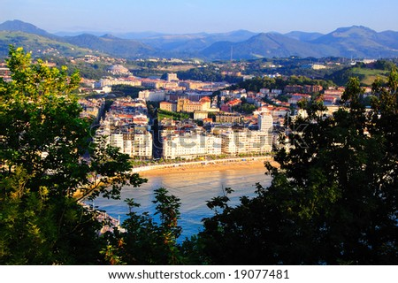 View of San Sebastian from hilltop - stock photo