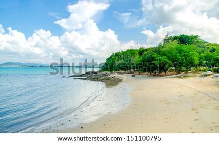 VIew of sand beach - stock photo