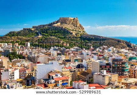 View of Santa Barbara Castle on Mount Benacantil above Alicante - Spain