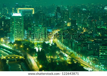 View of Santiago de Chile toward the east part of the city - stock photo