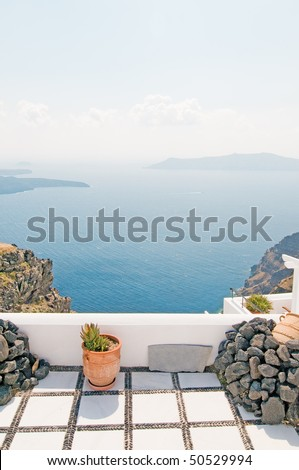 View of Santorini island, cyclades, sky and sea