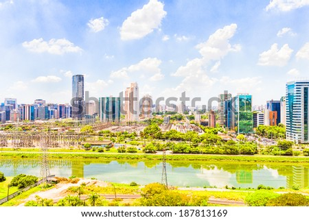 View of Sao Paulo and the river, Brazil - stock photo