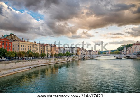 View of Saone river in Lyon city at evening, France - stock photo