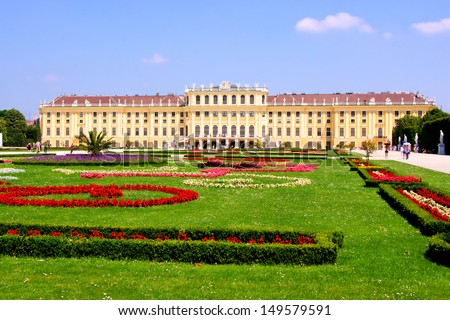 View of Schonbrunn Palace through its colorful gardens, Vienna, Austria - stock photo