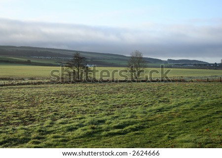view of scottish countryside in spring