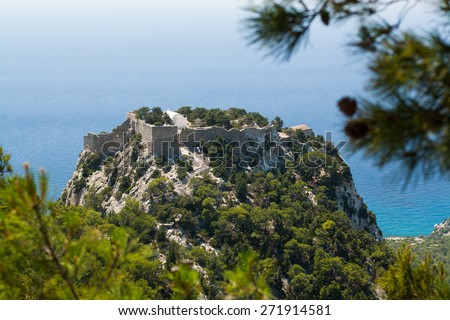 view of sea and mountains from the view point, view of castle on the hill, island of Rhodes, Greece - stock photo