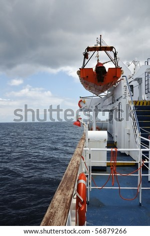 View of sea and overcast sky from the deck of a ferry boat. - stock photo