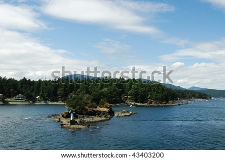 View of sea, islands and blue sky in gulf islands national park, british columbia, canada