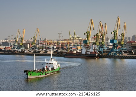 View of sea trading port - stock photo
