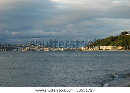 View of Seattle and Alki beach waterfront - stock photo