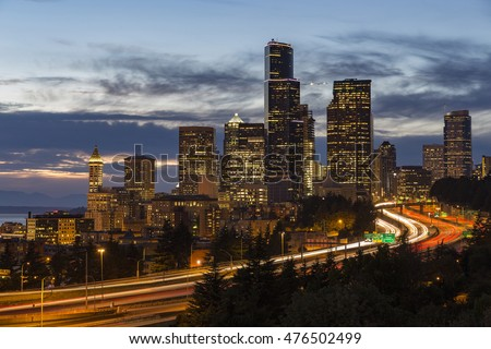 View of Seattle at dusk