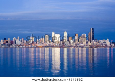 View of Seattle skyline at dusk - stock photo