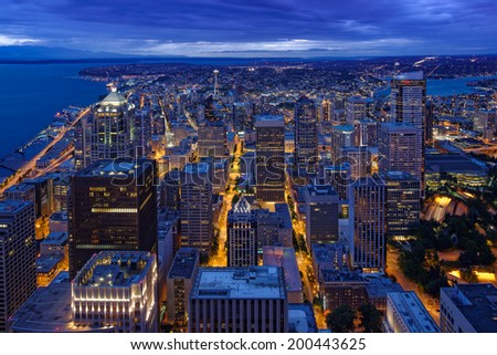 View of Seattle Skyline from SkyView Observatory, Columbia Tower II - stock photo