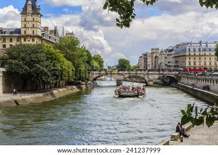 View of Seine River and famous Cite Island. Paris, France, Europe. - stock photo