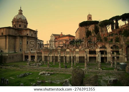 view of Senate House of Julius and  ancient Mamertine Prison in Rome, Italy  - stock photo