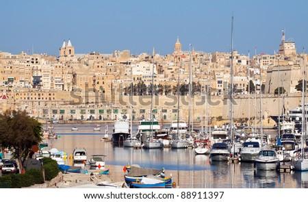 View of Senglea and  yachts in Dockyard Creek. Malta - stock photo