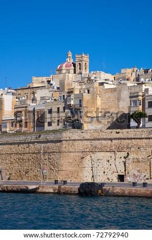 View of Senglea from Dockyard Creek. Malta - stock photo