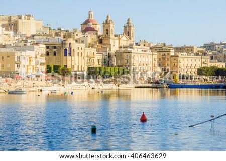 View of Senglea harbor, one of the three cities, Malta - stock photo