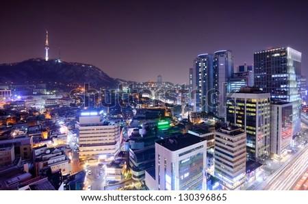 view of Seoul, South Korea - stock photo